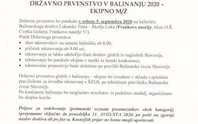 DP balinanje ekipno razpis 2020