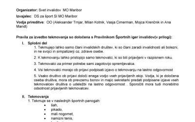 Razpis za sodelovanje na športnih igrah invalidov 2020