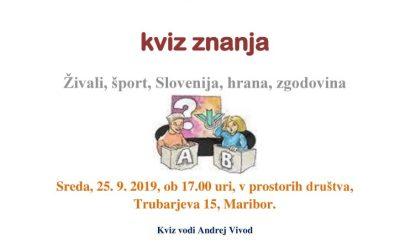 18.9.2019 Vabilo –  kviz znanja zgodovine, živali, Slovenija, hrana in šport