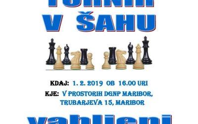 1. 2. 2019 Vabilo – turnir v šahu Maribor