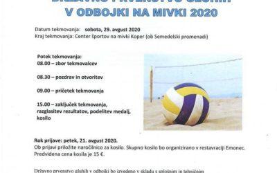29.8.2020 Vabilo in obvestilo za udeležence DP gluhih v odbojki na mivki